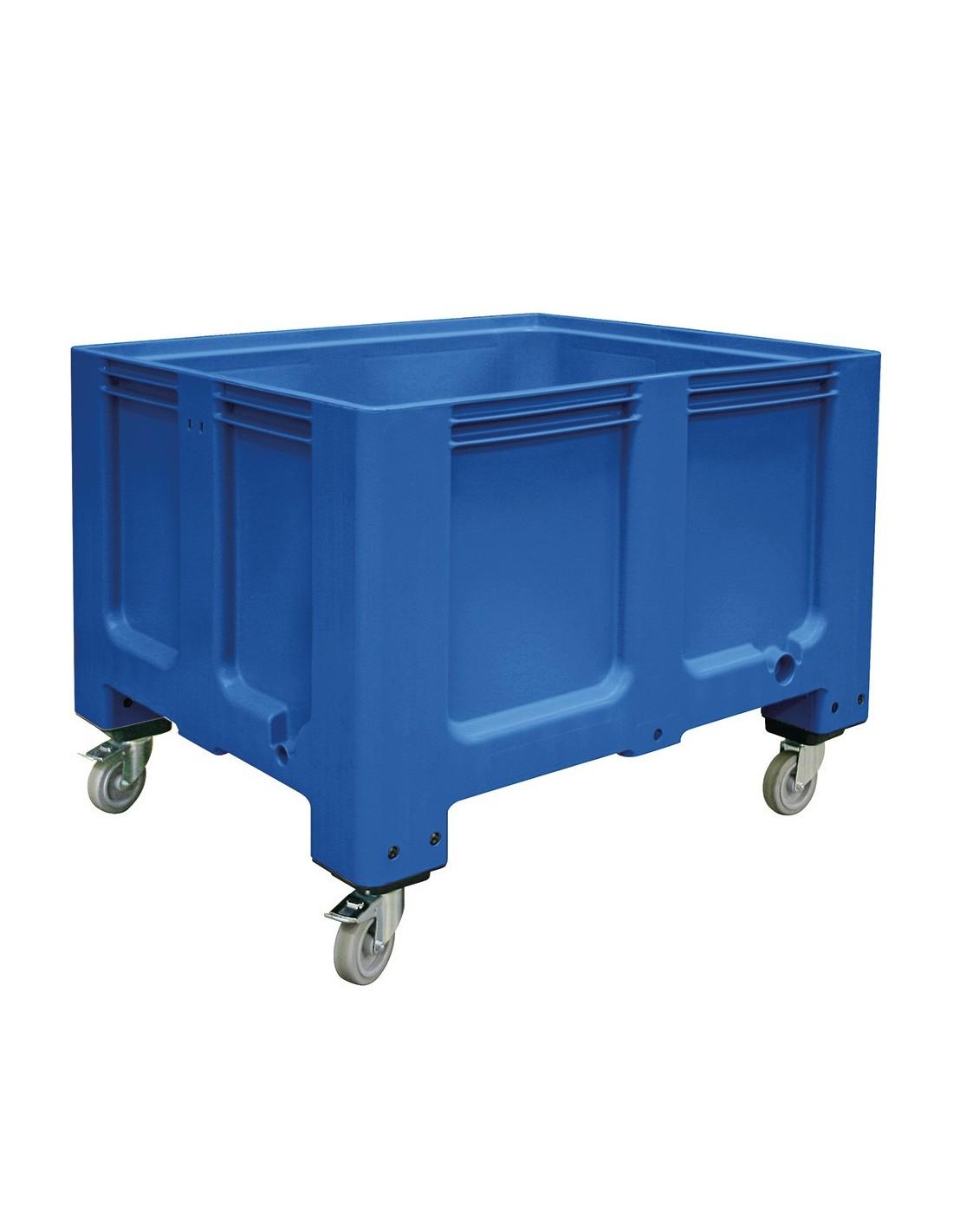1000 x 1200 mm Großbox mit Rollen u. Bremse flüssigkeitsdicht