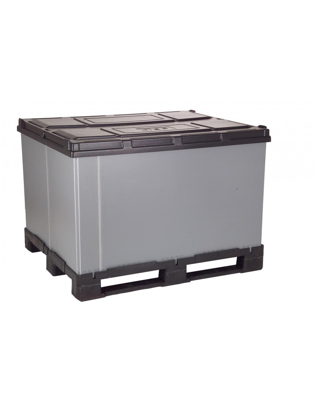1000 x 1200 x 1100 mm Faltbox mit 3 Kufen