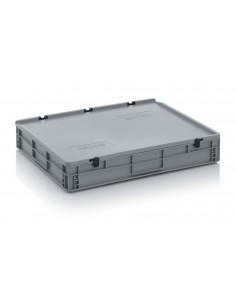 800 x 600 x 120 mm, Eurobehälter mit Schanierdeckel