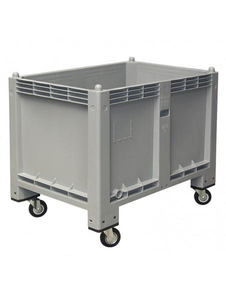 800 x 1200 mm, anthrazit, Großbox mit Rollen, flüssigkeitsdicht