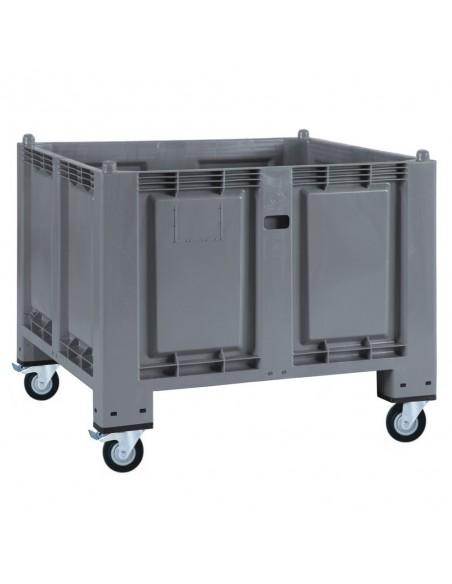 800 x 1200 mm Großbox anthrazit mit Rollen u. Bremse flüssigkeitsdicht